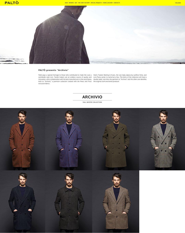 paltò cappotto sito web lookbook archivio