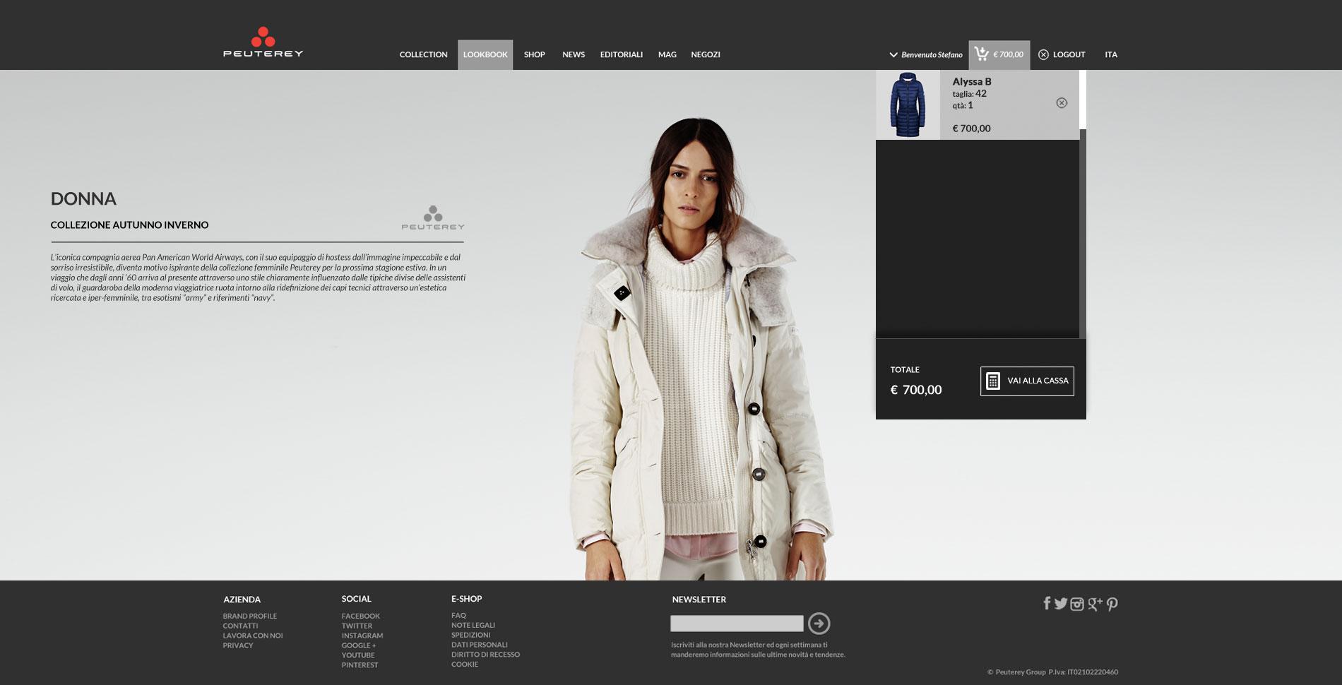 Peuterey e-commerce web design collezione