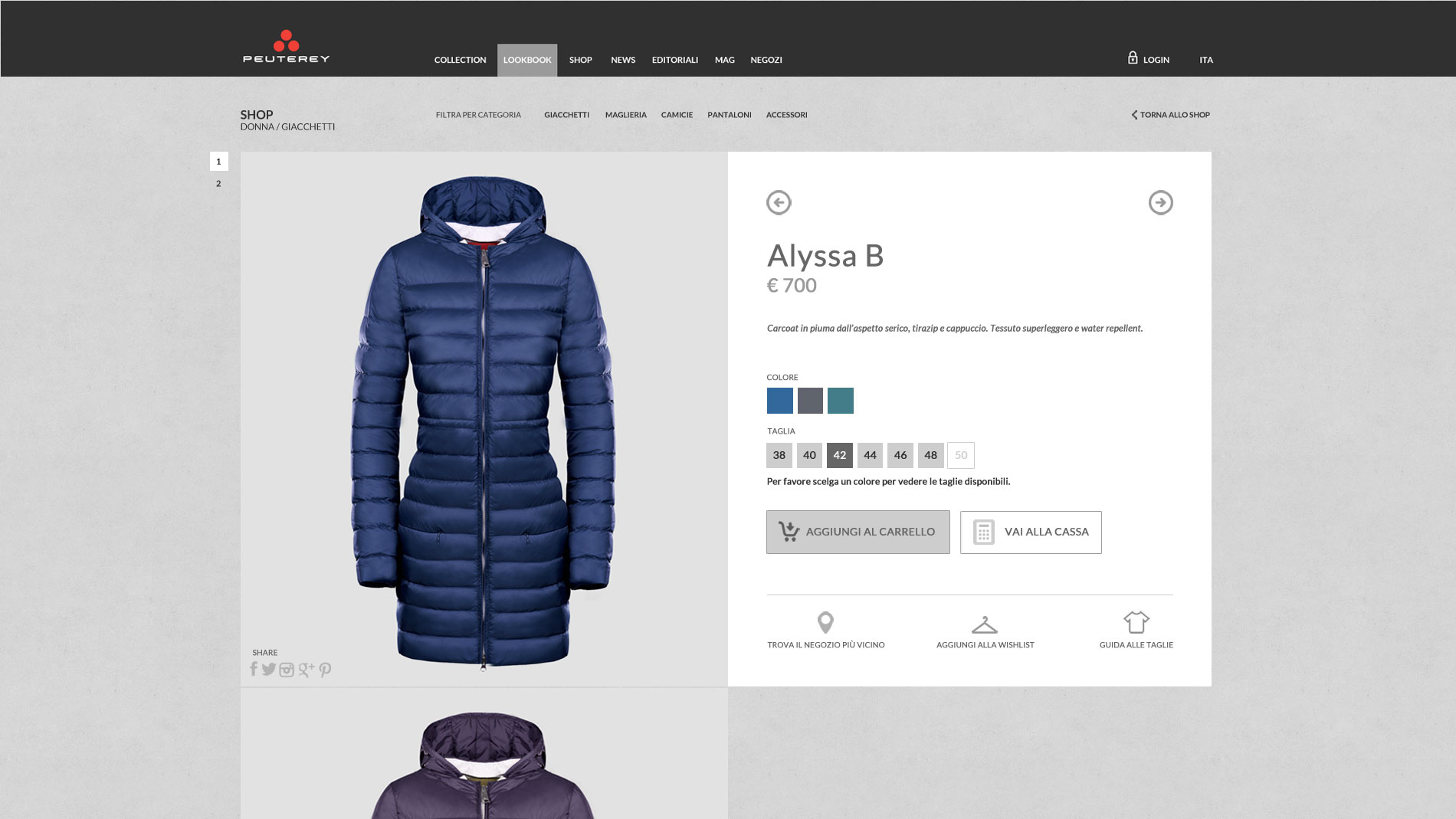 Peuterey e-commerce web design still life